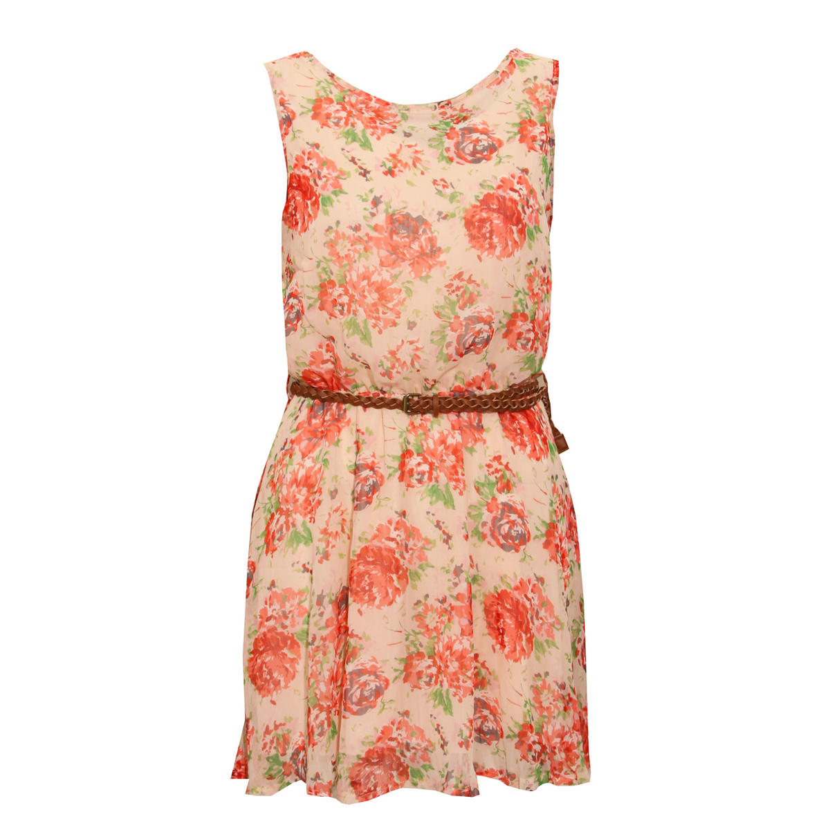 Bold Rose Print Belted Dress Preview